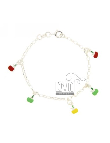 ROLO BRACELET OVAL WITH APPLES HANGING 5 ENAMELLED SILVER TIT 925 CM 18