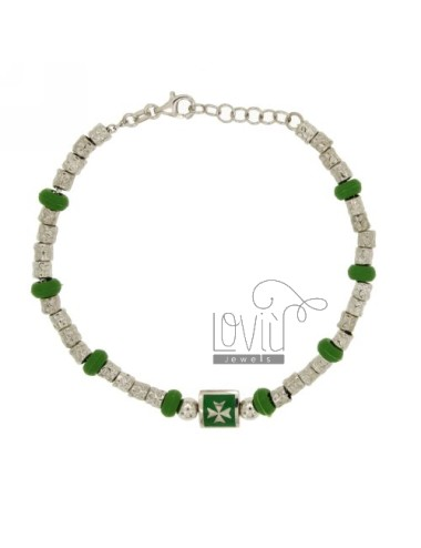 BRACELET NUGGETS DIAMETER 4 MM WITH RUBBER ELEMENTS IN &39GREEN SILVER RHODIUM TIT 925 ‰ CM 18 AND POLISH