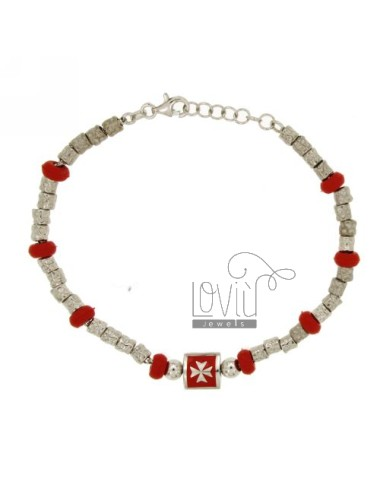 BRACELET NUGGETS DIAMETER 4 MM WITH RUBBER ELEMENTS IN &39RED SILVER RHODIUM TIT 925 ‰ CM 18 AND POLISH