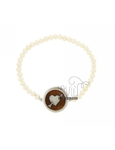 CAMEO BRACELET &quotHEART PIERCED&quot PEARLS OF FRESH WATER IN SILVER RHODIUM TIT 925 ‰