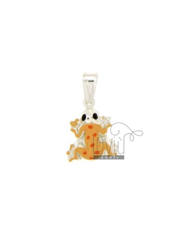 PENDANT FROG 17x14 MM SILVER GLAZED ASSORTED COLORS TIT 925 ‰