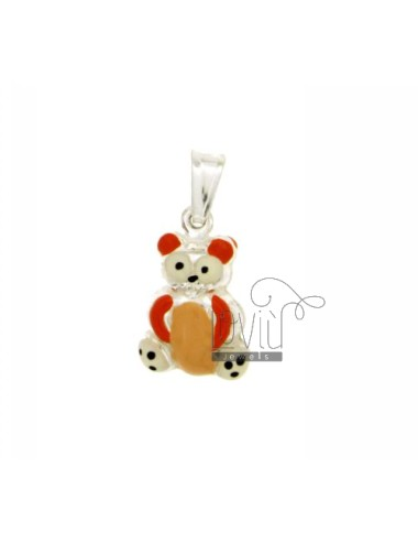 BEAR PENDANT MM 20X12 SILVER GLAZED ASSORTED COLORS TIT 925 ‰
