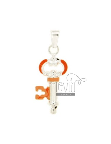 CHARM KEY MM 30X13 SILVER GLAZED ASSORTED COLORS TIT 925 ‰