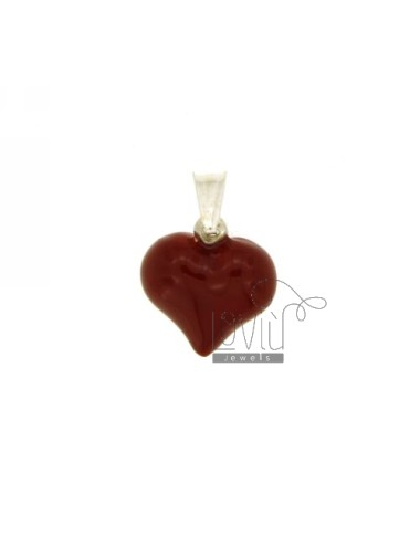 PENDANT HEART MM 16X16 SILVER GLAZED RED TIT 925 ‰