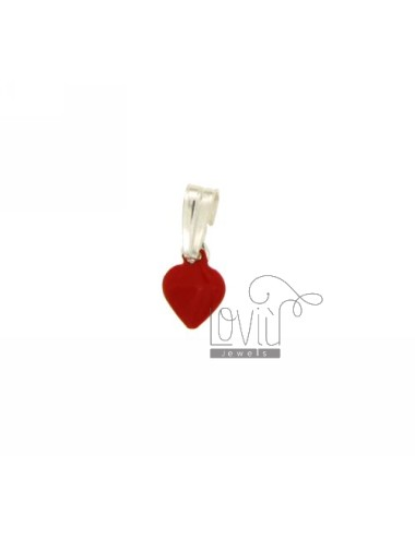 PENDANT HEART MM 10x7 SILVER GLAZED ASSORTED COLORS TIT 925 ‰