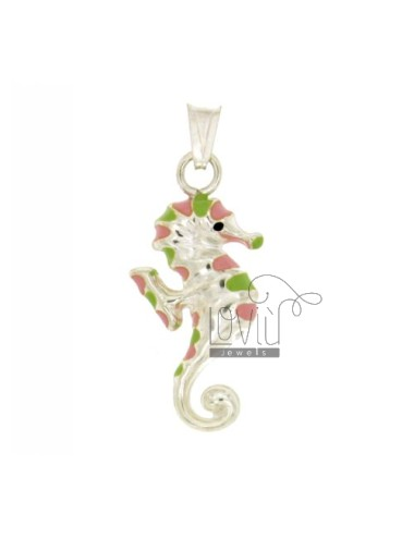 PENDANT IPPOCAMPO 31x15 MM SILVER GLAZED ASSORTED COLORS TIT 925 ‰
