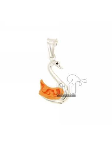 PENDANT SILVER SWAN 22x14 MM GLAZED ASSORTED COLORS TIT 925 ‰