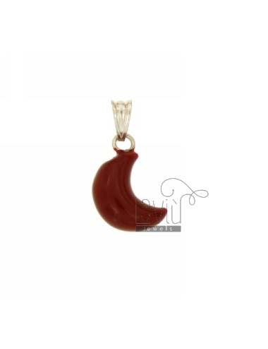 MOON PENDANT 18x11 MM SILVER GLAZED ASSORTED COLORS TIT 925 ‰