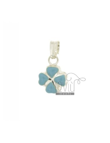 CLOVER CHARM MM 16X12 SILVER GLAZED ASSORTED COLORS TIT 925 ‰
