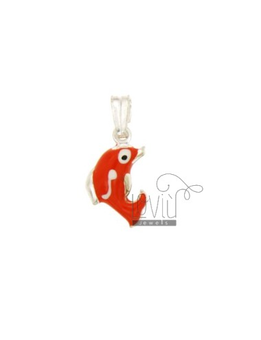 PENDANT DOLPHIN 19x11 MM SILVER GLAZED ASSORTED COLORS TIT 925 ‰