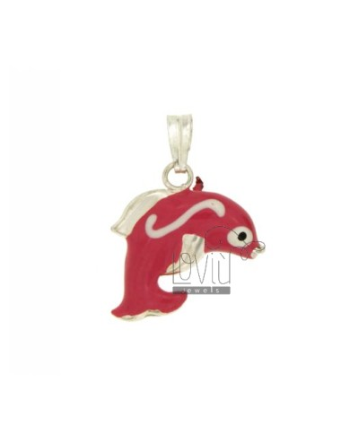 PENDANT DOLPHIN 20x23 MM SILVER GLAZED ASSORTED COLORS TIT 925 ‰
