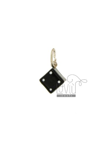 PENDANT SILVER NUT 10X10 MM GLAZED ASSORTED COLORS TIT 925 ‰