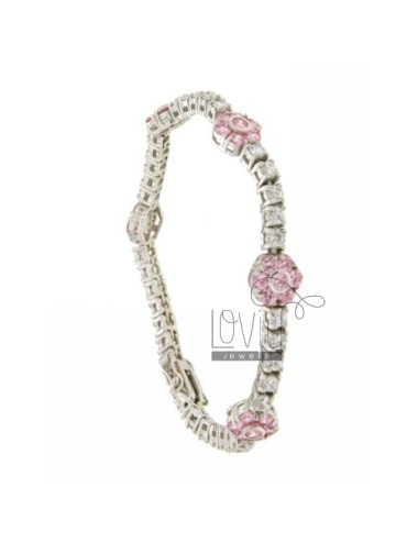 TENNIS BRACELET WITH FLOWERS IN SILVER RHODIUM 5 TIT 925 ‰ ZIRCONIA WITH WHITE AND PINK 18 CM