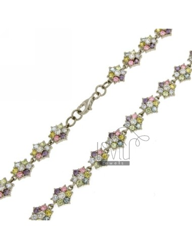 FLOWERS IN SILVER NECKLACE RHODIUM TIT 925 ‰ WITH SWAROVSKI MULTICOLOR CM 18