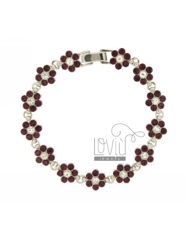 FLOWERS IN SILVER BRACELET RHODIUM TIT 925 ‰ RHINESTONE WHITE AND PURPLE CM 18