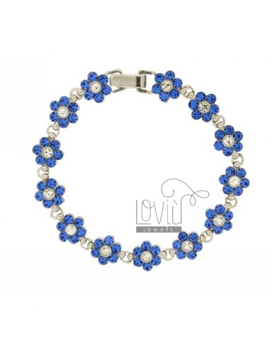 FLOWERS IN SILVER BRACELET RHODIUM TIT 925 ‰ RHINESTONE WHITE AND BLUE 18 CM