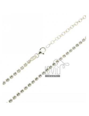 TENNIS NECKLACE SILVER 2.5 MM 925 ‰ TIT AND CRYSTAL WHITE CM 50