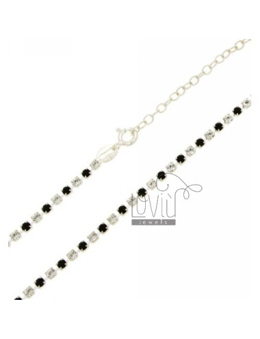 TENNIS NECKLACE SILVER 2.5 MM 925 ‰ TIT AND CRYSTAL WHITE AND BLACKS CM 40