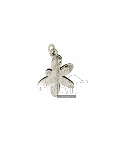 CHARM.DRAGONFLY DRAGONFLY DOUBLE PLATE SILVER RHODIUM TIT 925