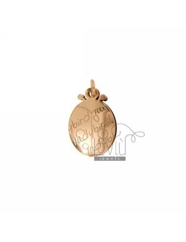CIONDOLO COCCINELLA-LADYBIRD A DOPPIA LASTRA IN ARG. PLACCATO ORO ROSA TIT 925