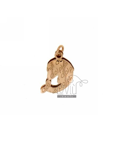 PENDANT DOLPHIN DOLPHIN.DOUBLE PLATE IN SILVER ROSE GOLD PLATED TIT 925
