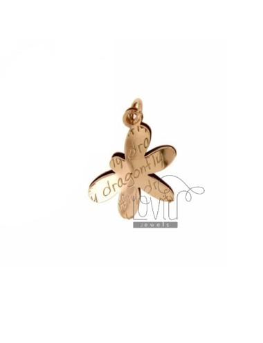 CHARM.DRAGONFLY DRAGONFLY DOUBLE PLATE IN SILVER ROSE GOLD PLATED TIT 925