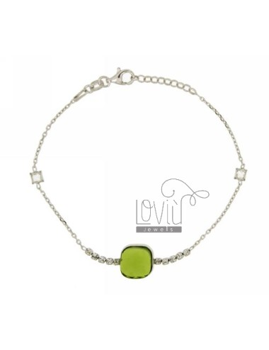 CABLE BRACELET WITH ZIRCONIA WHITE AND GREEN SILVER RHODIUM TIT 925 ‰ CM 18