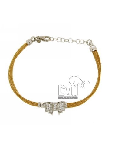 BOW BRACELET WITH WHITE ZIRCONIA SILVER RHODIUM AND GOLD PLATED TIT 925 ‰ CM 18