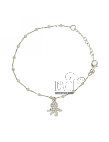 CABLE BRACELET WITH BALLS AND CHARM baby octopus with ZIRCONIA SILVER RHODIUM TIT 925 ‰ CM 18