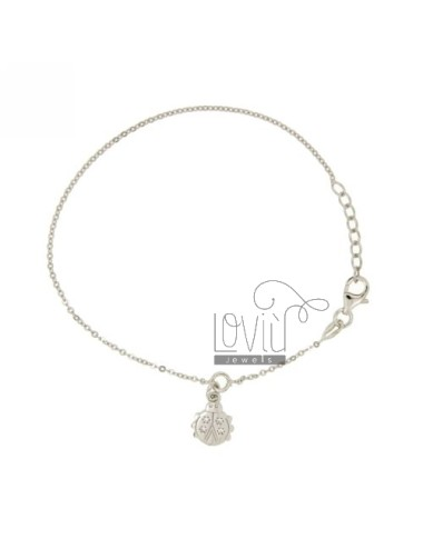 CABLE WITH CHARM BRACELET WITH LADYBIRD ZIRCONIA SILVER RHODIUM TIT 925 ‰ CM 18