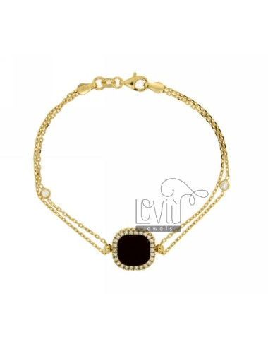 CABLE BRACELET WITH CENTRAL RED STONE AND ZIRCONIA SILVER GOLD PLATED TIT 925 ‰ CM 18