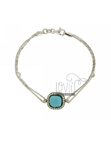CABLE BRACELET WITH CENTRAL BLUE STONE AND ZIRCONIA SILVER RHODIUM TIT 925 ‰ CM 18