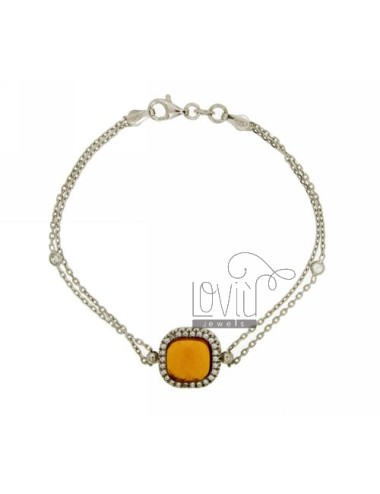 CABLE BRACELET WITH YELLOW STONE AND CENTRAL ZIRCONIA SILVER RHODIUM TIT 925 ‰ CM 18