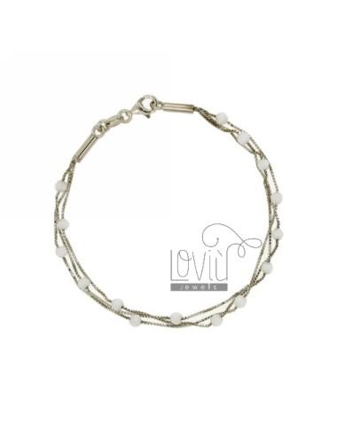 VENETIAN BRACELET WITH 3 WIRES WHITE STONES 3 MM SILVER RHODIUM TIT 925 ‰ CM 18