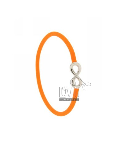 BRACELET SILICONE ORANGE WITH INFINITE TIT SILVER 925 ‰