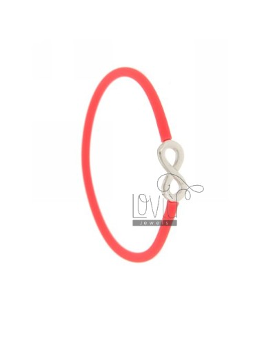 BRACELET WITH SILICON FUCSIA INFINITE TIT SILVER 925 ‰