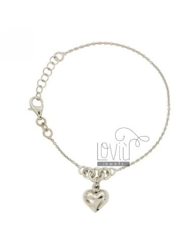 CABLE BRACELET WITH HEART BOMBATO PENDANT SILVER RHODIUM TIT 925 ‰ CM 17.19