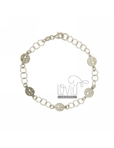 ROLO BRACELET &39FLUSH WITH DISKETTES I LOVE YOU IN SILVER RHODIUM TIT 925 ‰ CM 18