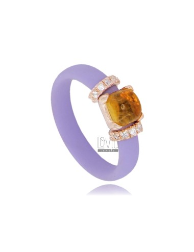 RING IN RUBBER 'LILLA WITH APPLICATION IN ROSE GOLD PLATED AG TIT 925 ‰ ZIRCONIA AND STONES HYDROTHERMAL ASSORTED COLORS