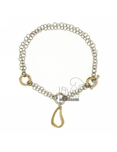 ROLO BRACELET &39FLUSH WITH DROP PENDING IN SILVER RHODIUM AND GOLD PLATED TIT 925 ‰ 18 CM WITH CLOSING T.BARR