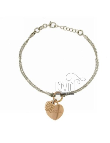 CABLE BRACELET WITH DOUBLE HEART LOVE.LOVE AND SILVER RHODIUM PLATED ROSE GOLD 925 ‰ TIT CM 17.19