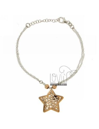 ROLO BRACELET &39WITH STAR.THROUGH ROSE GOLD AND SILVER PLATED RHODIUM TIT 925 ‰ 18 CM WITH CLOSING T.BARR