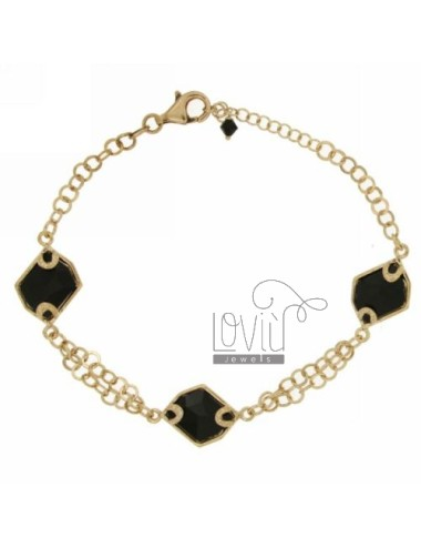 ROLO BRACELET &39BEAT WITH BLACK STONES IRREGULAR SILVER ROSE GOLD PLATED TIT 925 ‰ CM 18