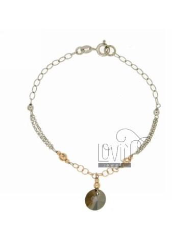 ROLO BRACELET &39WITH CRYSTAL BALLS AND ROUND FUME&39 SILVER RHODIUM AND GOLD PLATED PINK TIT 925 ‰ CM 18