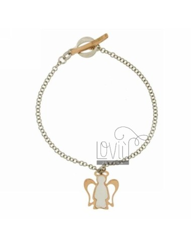 ROLO BRACELET &39FLUSH WITH ANGEL WITH INSERTS IN PEARL ROSE GOLD PLATED SILVER RHODIUM TIT 925 ‰ CLOSING T.BARR