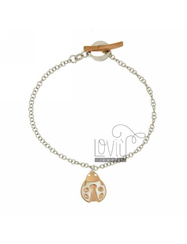 ROLO BRACELET &39FLUSH WITH LADYBIRD INSERTS PEARL ROSE GOLD PLATED SILVER RHODIUM TIT 925 ‰ CLOSING T.BARR