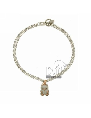 ROLO BRACELET &39DIAMOND 2 WIRES WITH BEAR WITH INSERTS SATIN ROSE GOLD PLATED SILVER RHODIUM TIT 925 ‰ CLOSING T.BARR