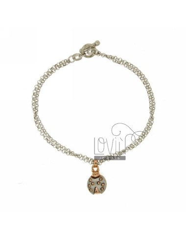 ROLO BRACELET &39DIAMOND 2 WIRES WITH LADYBIRD SATINATA INSET PLATED ROSE GOLD SILVER RHODIUM TIT 925 ‰ CLOSING T.BARR