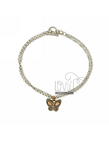 ROLO BRACELET &39DIAMOND 2 WIRES WITH INSET FARFALLINA SATIN ROSE GOLD PLATED SILVER RHODIUM TIT 925 ‰ CLOSING T.BARR