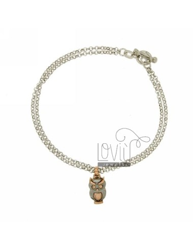 ROLO BRACELET &39DIAMOND 2 WIRES WITH INSET CIVETTA SATIN ROSE GOLD PLATED SILVER RHODIUM TIT 925 ‰ CLOSING T.BARR